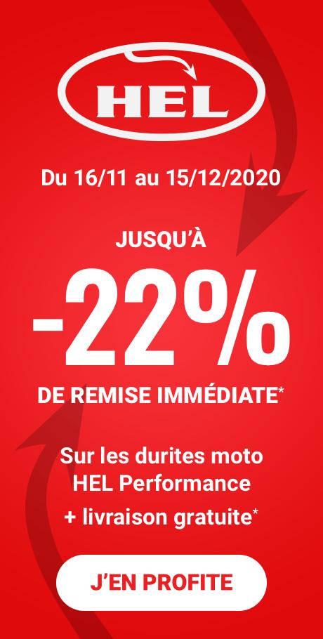 Jusqu'à -22% de remise immédiate sur les durites moto HEL jusqu'au 15/12/2020*