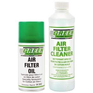 Kit d'entretien pour filtres à air Green 500ml + Huile aérosol 300ml